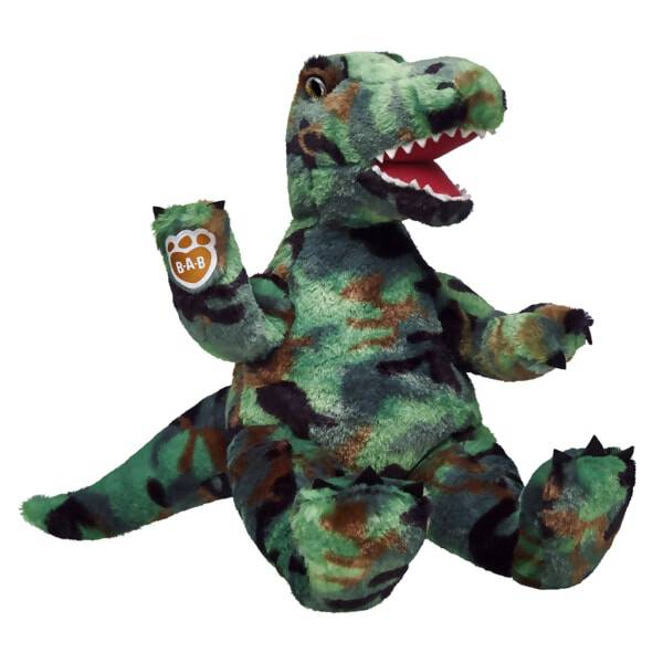 Massive height, razor sharp teeth and an enormous appetite! Now add camouflage to the T-Rex's character traits and you've got one seriously dangerous dino! Thankfully, this one is soft, furry and huggable!