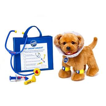 Have four-legged fun and take good care of your Promise Pets with this toy vet set! With a toy stethoscope, bandage, cone collar, thermometer, ear examining tool and vet bag included, pet owners will have everything they need to perform regular check-ups on their furry friends with this toy vet set. It's an adorable way to have even more fun with your Promise Pets!