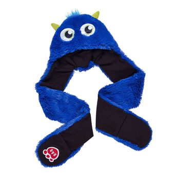 Now kids can look just like their Monster Mixters furry friends and keep warm in the winter! This blue all-in-one set with eyes and ears on the hat is a combination hat, scarf and mittens.