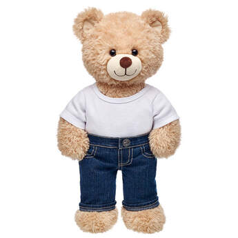 Teddy bear size denim jeans make a fashion statement.