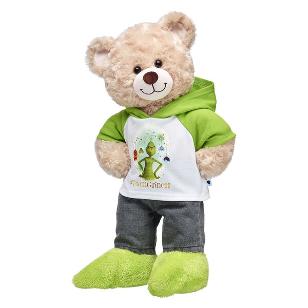 Wasn't it just Christmas last year? Happy Hugs Teddy is embracing its Grinchiness with this cuddly teddy bear gift set! This cute teddy bear is proudly #TeamGrinch with its cute Grinch hoodie and fuzzy green Grinch feet! Dr. Seuss' The Grinch © Universal Studios. The Grinch and related characters © & TM Dr. Seuss Enterprises, L.P. Licensed by Universal Studios. All Rights Reserved.