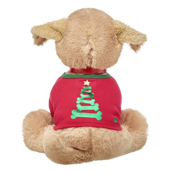 Your Promise Pets furry friends are dreaming of treats under the tree on Christmas morning! This adorable red and green stuffed animal tee features a fun Christmas tree made of bones!