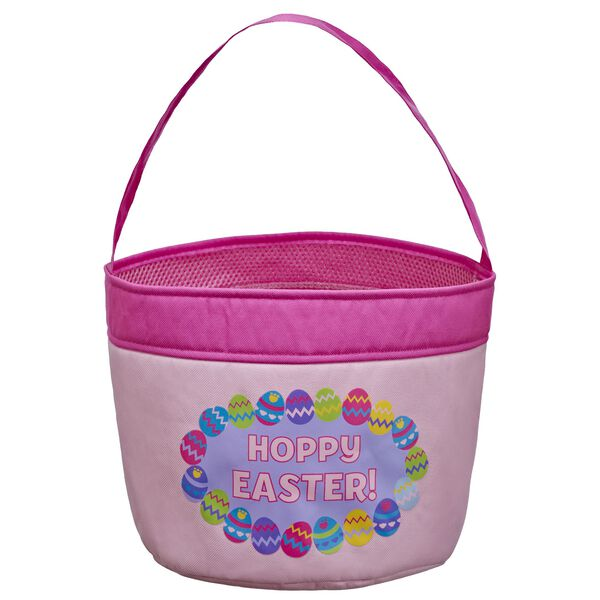 Find eggs in style with this full-sized Easter basket that matches the mini basket for your furry friend! This pink egg basket comes with a fun multicolour egg design.