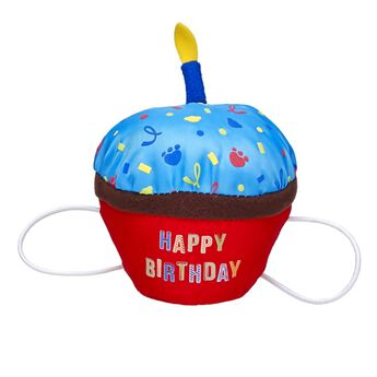 Happy birthday! This special cupcake is just for your furry friend. The blue-topped cupcake attaches to a furry friend's paws with elastic bands and has a pretend candle on top.
