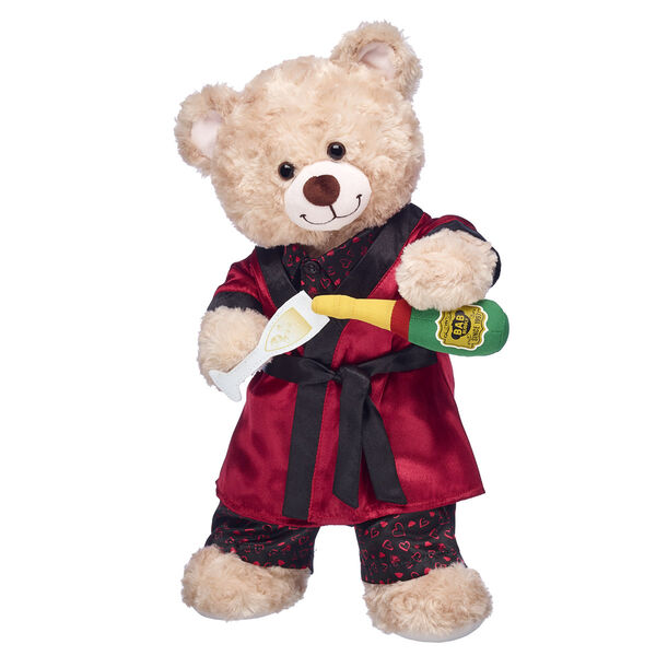 teddy bear valentines day gift bundle with robe and plush champagne set