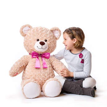 Online Exclusive Jumbo Happy Hugs Teddy with Pink Bow, , hi-res