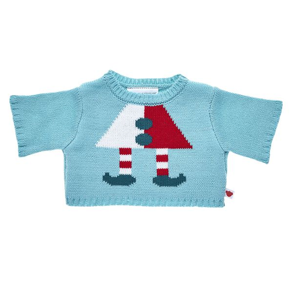 Your furry friend can stay up late wrapping presents in this adorable knit sweater! With cute elf shoes knit on the front, this warm stuffed animal sweater is the perfect way to send season's greetings.