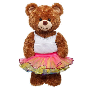 Teddy bear size rainbow-coloured tulle tutu skirt has sequin trim.
