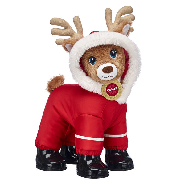 Nicknamed The Jokester, Comet is guaranteed to put a smile on anyone's face this winter! This stuffed animal gift set provides Comet with all the necessities of the season, including an adorable red puffer jacket that has a hood his antlers can fit through. His sleek black combat boots are a must-have for winter adventures!