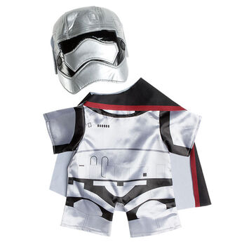 Dress your furry friend in a Captain Phasma™ costume from Star Wars: The Force Awakens. This teddy bear size silver and black costume includes the suit, mask, and cape. © & ™ Lucasfilm Ltd.