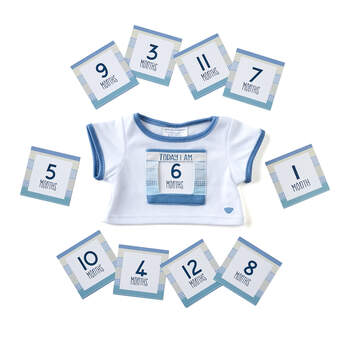 Let baby's furry friend count how fast they're growing! This cute bear-sized blue T-shirt has a special slot on the front to insert monthly milestone cards. It's the perfect addition to those must-have baby photos!