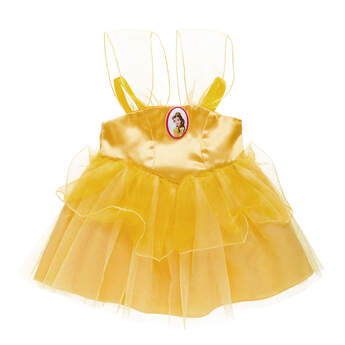 Dress your furry friend up as Princess Belle with this beautiful yellow dress! The teddy bear size Belle Costume is a beautiful yellow gown with Princess Belle cameo.© Disney