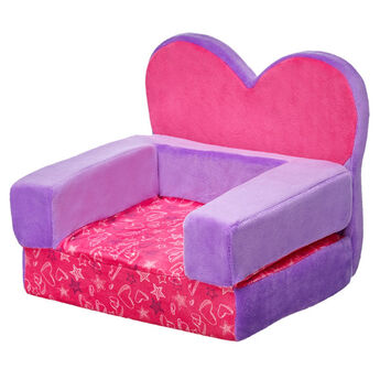 Give your furry friend a stylish place to sit with this Heart Chair Bed. This pink and purple plush chair folds out into a bed for your furry friend to sleep on. It features a cool heart & star graphic on the seat.