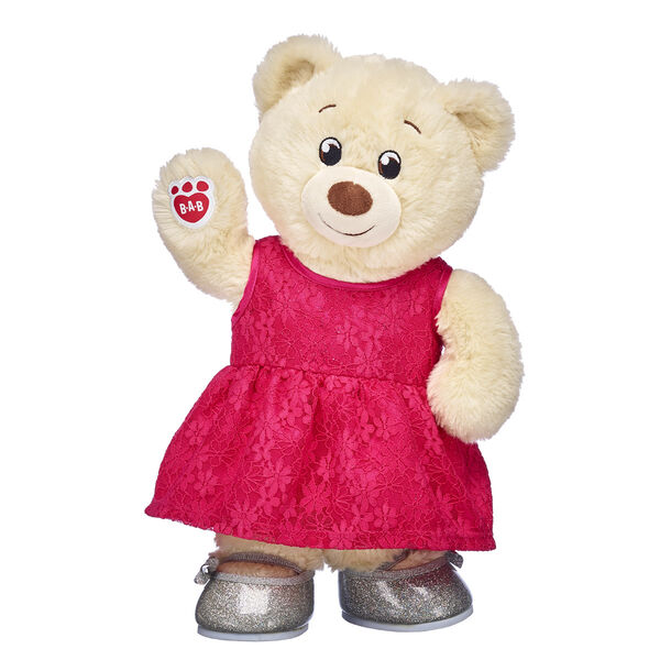 creme teddy bear in pink dress and silver sparkle shoes valentine's day gift set