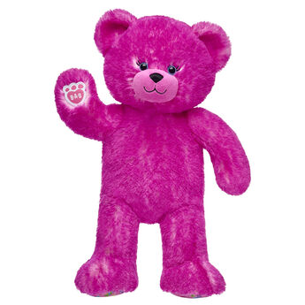 pink candy pop teddy bear standing and waiving