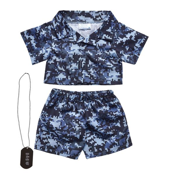 digital camo stuffed animal clothes flatlay