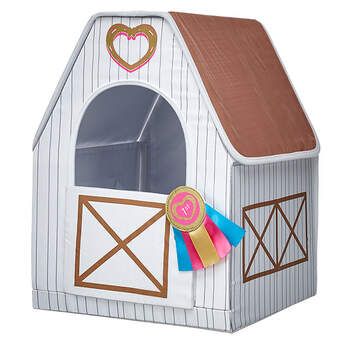 Give your horse a great place to live in their own Horse Stable. This pretty white stable has a first place ribbon on the door. It's the perfect addition for your Horses & Hearts Riding Club friend.