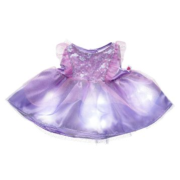 This sparkly purple dress for stuffed animals has a special light-up feature that creates a twinkling effect. Outfit a furry friend online to make the perfect gift. Make your own your own stuffed animal online with our Bear Builder or visit a store near you.