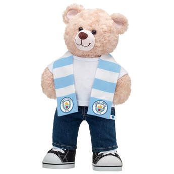 Happy Hugs Teddy Manchester City F.C. Scarf Gift Set, , hi-res