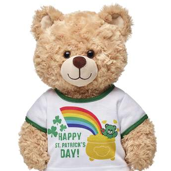 "Feeling lucky? Have a wee bit o'fun with this teddy-bear sized ""Happy St. Patrick's Day"" T-Shirt! Build-A-Bear Workshop offers hundreds of unique stuffed animal clothing & accessory options you won't find anywhere else. Outfit a furry friend online to make the perfect gift!"
