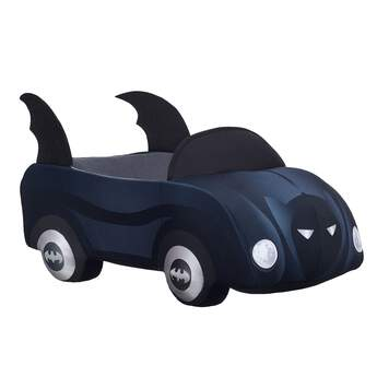 Give your furry friend the ultimate cool car: the Batmobile! This black plush car is the perfect size for your furry friend to cruise around in. It features Batman's mask on the front and the Batman logo on all four wheels. ™ & © DC Comics. (s17) This item cannot be purchased unstuffed, nor can stuffing adjustments be made. A sound or scent cannot be placed inside this pre-stuffed item.