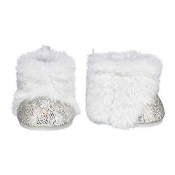 Whether you're styling your Honey Girl or any other furry friend, this fun pair of rockin' white boots provides the perfect amount of flair! These faux fur boots have glitter on the toes to provide a stylish amount of sparkle. Complete your furry friend's look!
