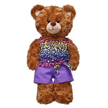 Give your furry friend a fierce look this summer with this fun two piece outfit! The tank top features a rainbow leopard print with a playful bow tied at the bottom. The accompanying purple shorts provide another fun splash of colour. Add a pair of shoes to this outfit and your furry friend will be all set for summer adventures!