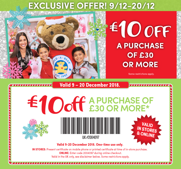 exclusive coupons build a bear workshop