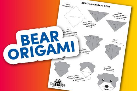Instructional bear origami activity sheet with illustration