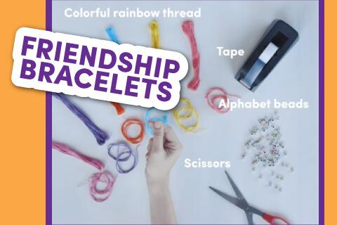 Girl making friendship bracelets