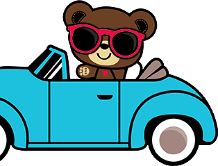 Bearamy in his blue car