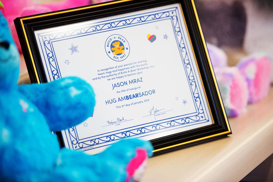 Jason Mraz Hug Ambasador Certificate