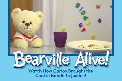 Bearville Alive: Watch how Carlos Brought The Cookie Bandit To Justice - Bear with cookie crumbs on plate