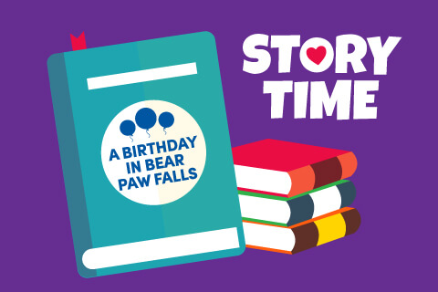 Story Time: Birthday Mad Lib - A Birthday In Bear Paw Falls - Stacked books