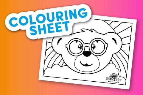 Bear head coloring sheet