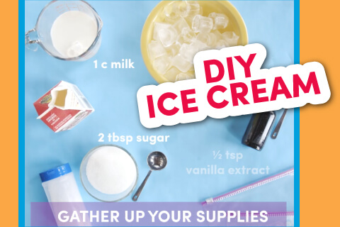 Gather up your supplies - ingredients for home made ice cream