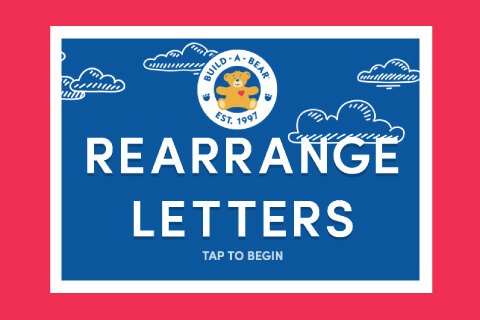 Rearrange The Letters - Build-A-Bear logo on Illustrated clouds