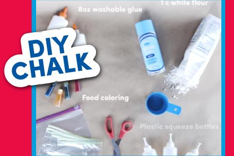 DIY Chalk - Scissors, glue, dye, and chalk
