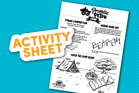 Camp Activity Sheet - Illustraed tent, fire and tree